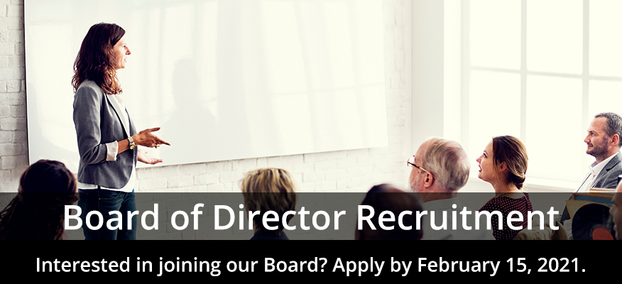 woman teaching people with a whiteboard message saying Board of Director Recruitment