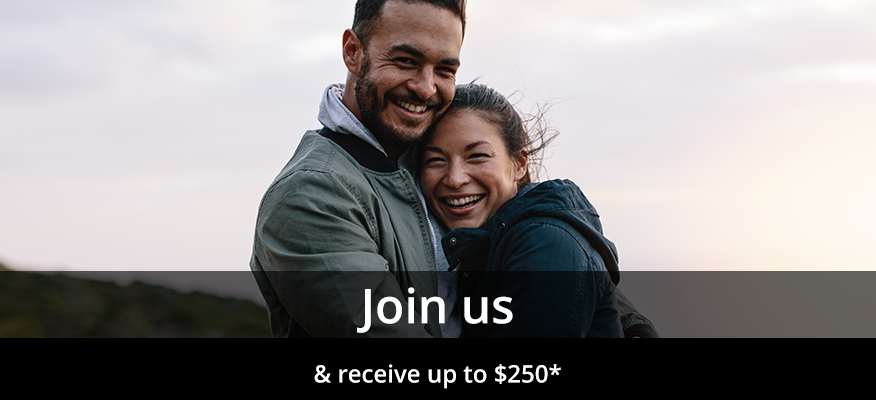 Heading says 'Join Us' and sub-heading says '& receive up to $250*' with a background of a couple smiling and holding each other